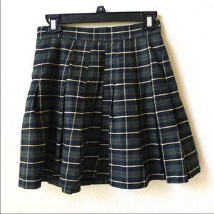 Vintage 90s Pleated Plaid Mini Skirt